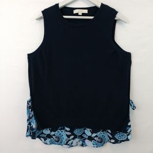 LOFT women's blouse size Large Navy and Floral